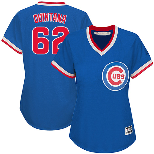 new concept 2cec2 8b848 Women's Majestic Chicago Cubs #62 Jose Quintana Replica Royal Blue  Cooperstown MLB Jersey