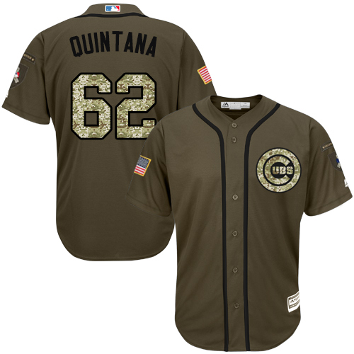pretty nice 866c1 53403 Men's Majestic Chicago Cubs #62 Jose Quintana Replica Green Salute to  Service MLB Jersey